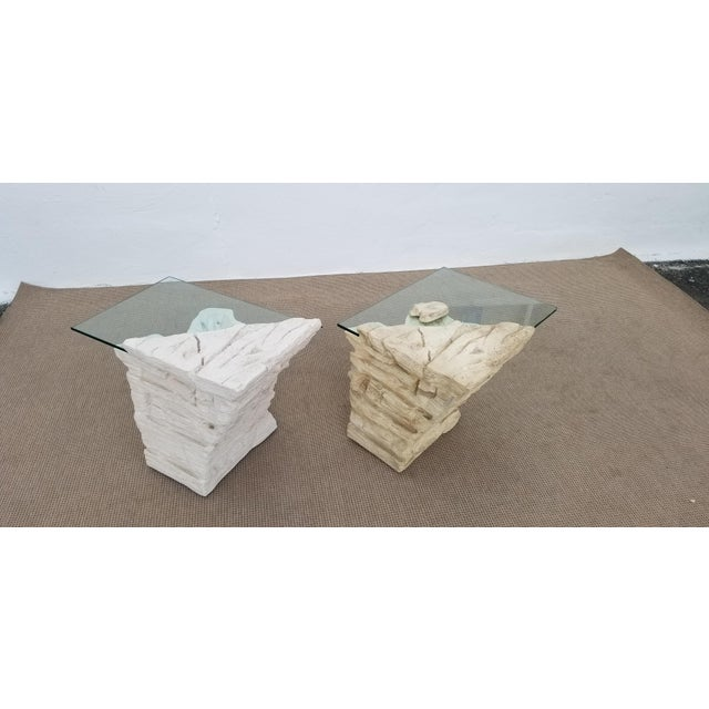 Sirmos Faux Rock Plaster Side Tables - a Pair For Sale - Image 11 of 13