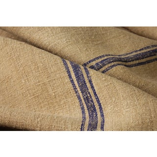 Antique Homespun Linen Grain Sack Fabric - 5.83 Yards For Sale