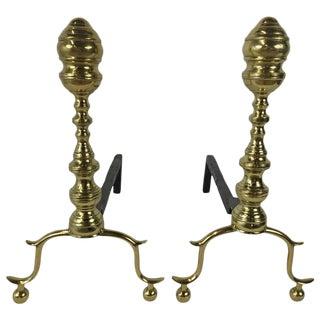 Brass Georgian Andirons - a Pair