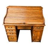 Image of 1930's-1940's American Oak Roll Top Desk For Sale