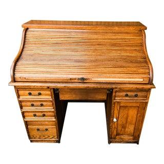 1930's-1940's American Oak Roll Top Desk For Sale