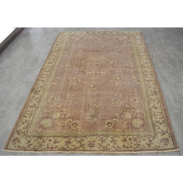 Vintage Turkish Hand Knotted Area Rug Distressed and Faded Colors - 5′1″ × 8′4″ For Sale - Image 4 of 9