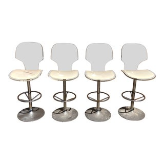 1970s Mid-Century Modern Hill Manufacturing Lucite Bar Stools - Set of 4