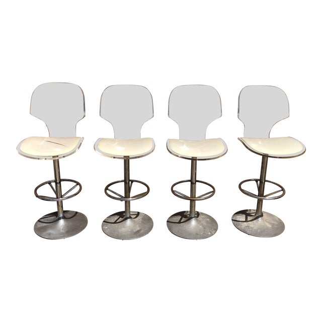 1970s Mid-Century Modern Hill Manufacturing Lucite Bar Stools - Set of 4 For Sale