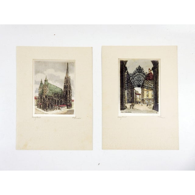 Continental Etching Prints on Silk - a Pair For Sale - Image 4 of 4