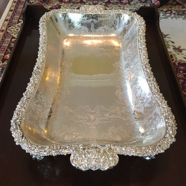 Engraving Barker Ellis Hand Applied Silver Tray For Sale - Image 7 of 13