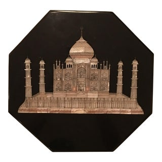 Octagonal Black Polished Onyx Box With Inlayed Mother-Of-Pearl Taj Mahal For Sale