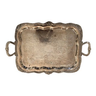 Late 19th Century Grand Silver Plate Tray For Sale