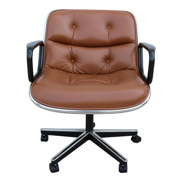Brown Leather Knoll Pollock Executive Chair For Sale