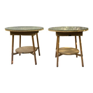 Boho Chic Lloyd Loom Two Toned Wicker and Wood Round Side Tables - a Pair For Sale