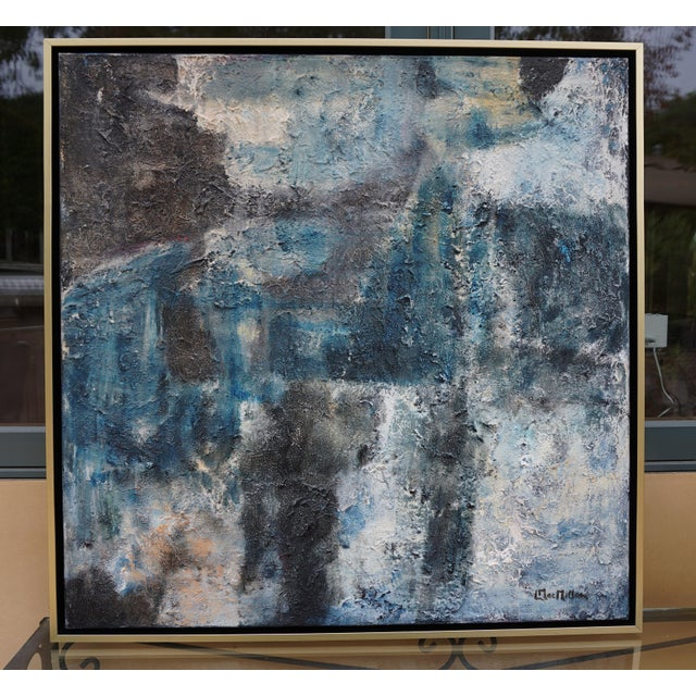 """Canvas """"Night Walk"""" Contemporary Abstract Acrylic Painting by Laurie MacMillan, Framed For Sale - Image 7 of 7"""