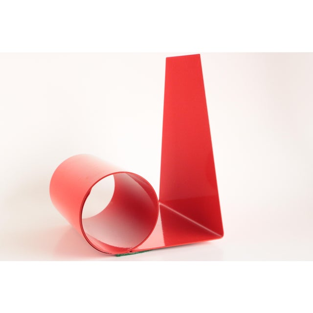 Mid-Century Modern Mid-Century Red Metal Coil Bookends - a Pair For Sale - Image 3 of 7