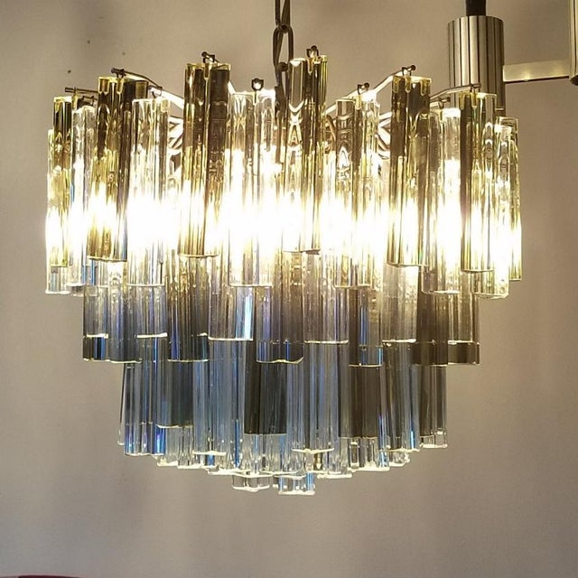 Mid-Century Modern Venini Clear & Dark Glass Chandelier For Sale In Miami - Image 6 of 11