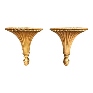 18th Century Louis XVI Gilt Neoclassical Chinoiserie Brackets - a Pair For Sale