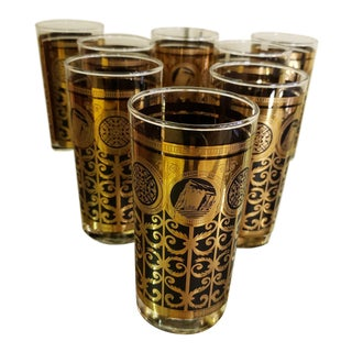 Mid-Century 1965 Libbey Black and Gold Glasses - Set of 8 For Sale