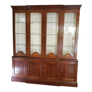 Councill Craftsman Inlaid Banded Flame Mahogany China Cabinet For Sale