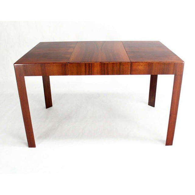 Brown Oiled Walnut Italian Mid-Century Modern Game or Dining Table with One Leaf For Sale - Image 8 of 8