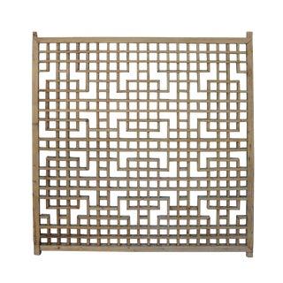 Vintage Restored Oriental Zen Geometric Wood Wall Panel For Sale