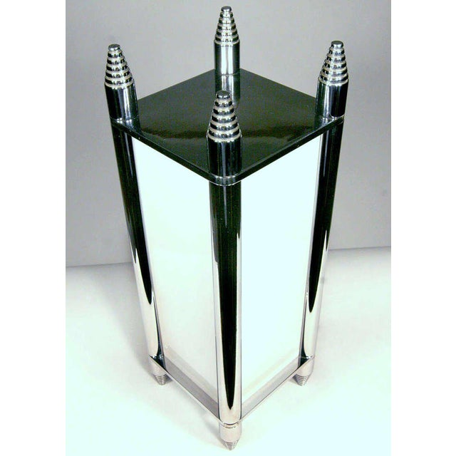 Chrome Art Deco box light constructed with chromed machined steel parts and a milk glass panel shades. The light has been...