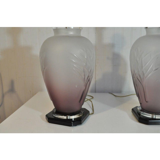 Pair Vintage Mid Century Modern Frosted Purple Glass & Lucite Table Lamps For Sale - Image 9 of 11