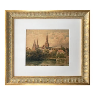 19th C Watercolor of Lichfield Cathedral by Axel Herman Haig