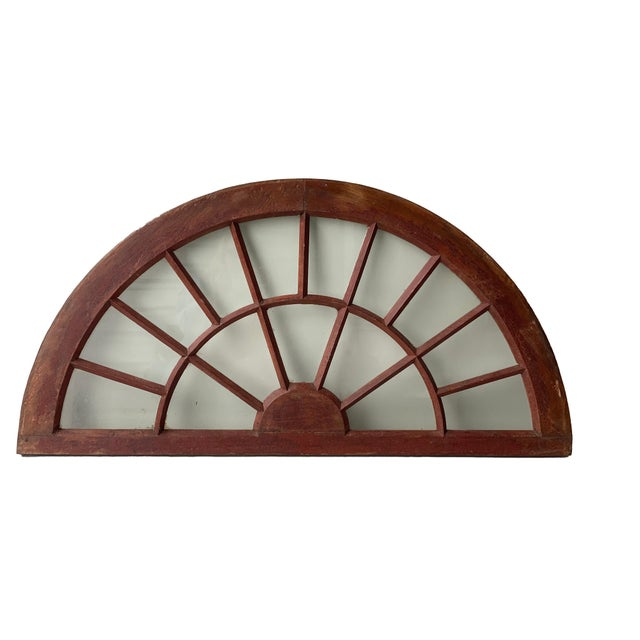 Rustic Rustic Half Round Distressed Wood Window For Sale - Image 3 of 12