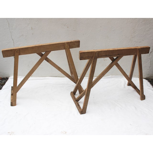 Wood 19th Century French Country Wood Saw Horse Table Bases - a Pair For Sale - Image 7 of 13