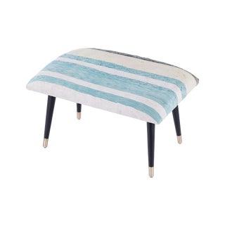 Pasargad Home Bosphorus Collection Blue Stripe Kilim Cover Ottoman For Sale