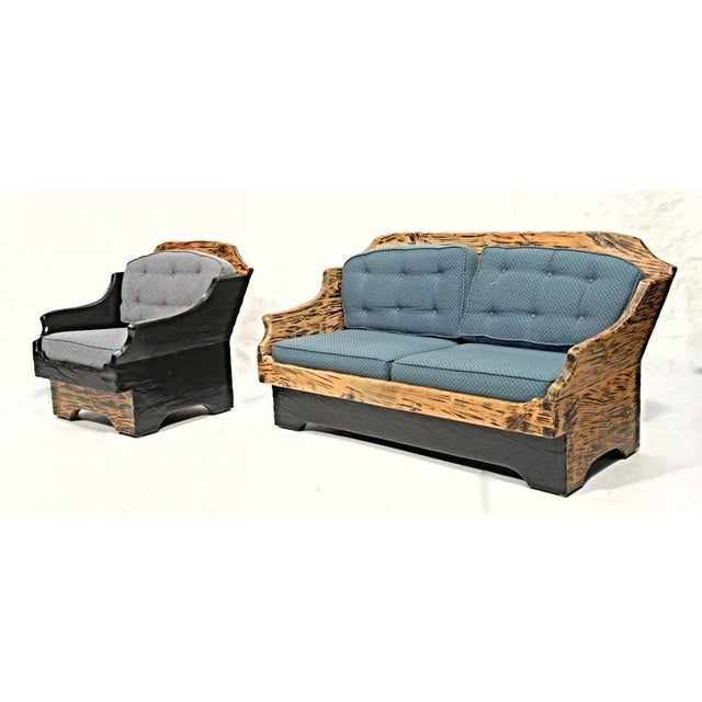 Wood Wood Grain Country Sofa & Lounge Chair - A Pair For Sale - Image 7 of 7