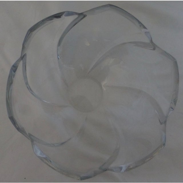 Mid century lead crystal bowl, this one is stamped Tiffany & Co. We love the unique design and form. In overall good...