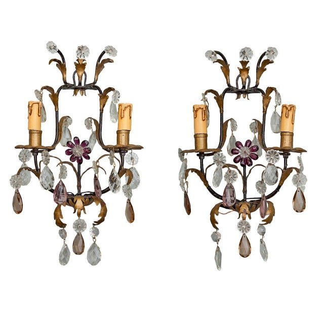 Italian Two-Light Tole & Crystal Sconces - A Pair - Image 1 of 9