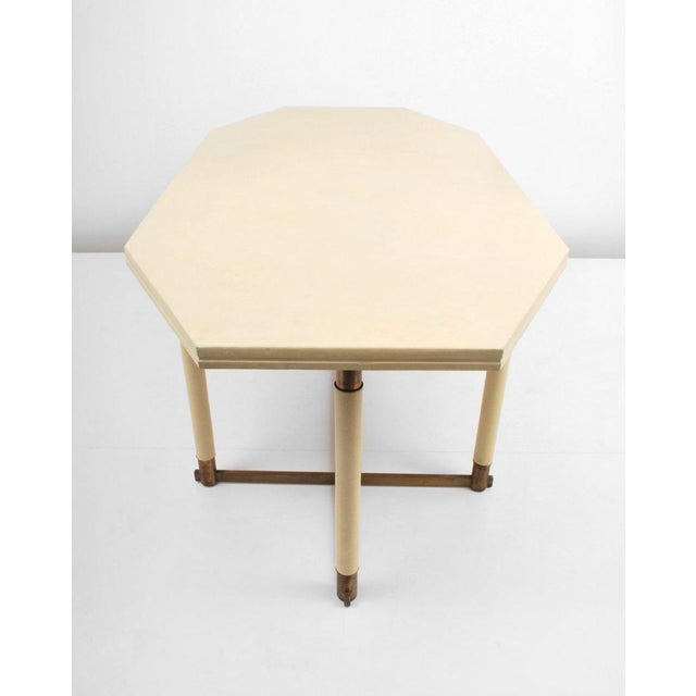 Maison Jansen Maison Jansen Octagonal Leather Dining Table For Sale - Image 4 of 6