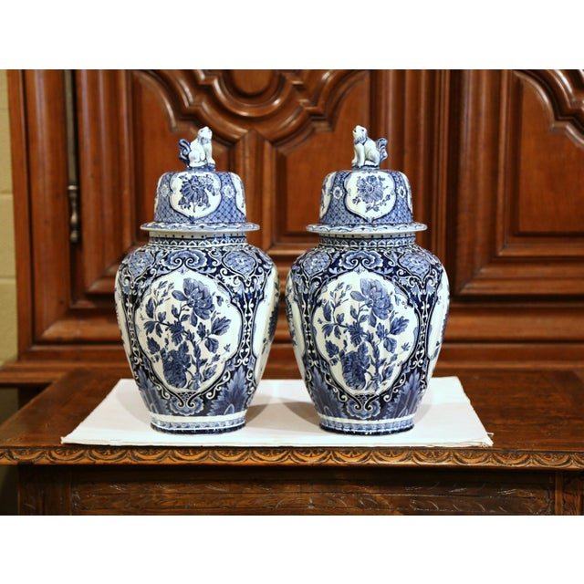 Large Mid-20th Century Dutch Blue and White Maastricht Delft Ginger Jars - a Pair For Sale - Image 9 of 9