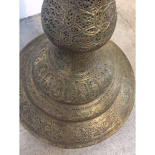 Gold Antique 19th Century Brass Islamic Middle Eastern Persian Floor Lamp For Sale - Image 8 of 9