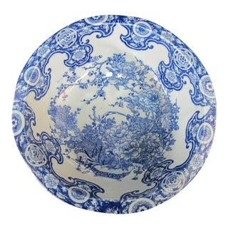 Chinese Cobalt Blue Porcelain Bird & Flower Design Basin Bowl For Sale