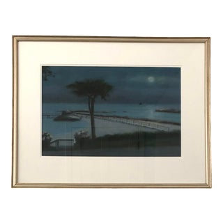 "Early 21st Century ""Nonquitt Nocturne (South Dartmouth, Massachusetts)"" Pastel Drawing by Frank McCoy, Framed For Sale"