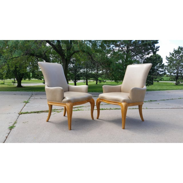 Tan Vintage High Back Leather Armchairs - a Pair For Sale - Image 8 of 8
