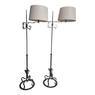 Spanish Hand Wrought Floor Lamps- a Pair For Sale