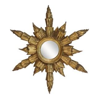 Mid Century French Gilt Sunburst Mirror For Sale