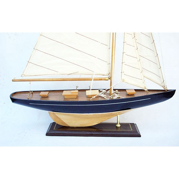Handmade Wooden Sailboat Model - Image 4 of 4