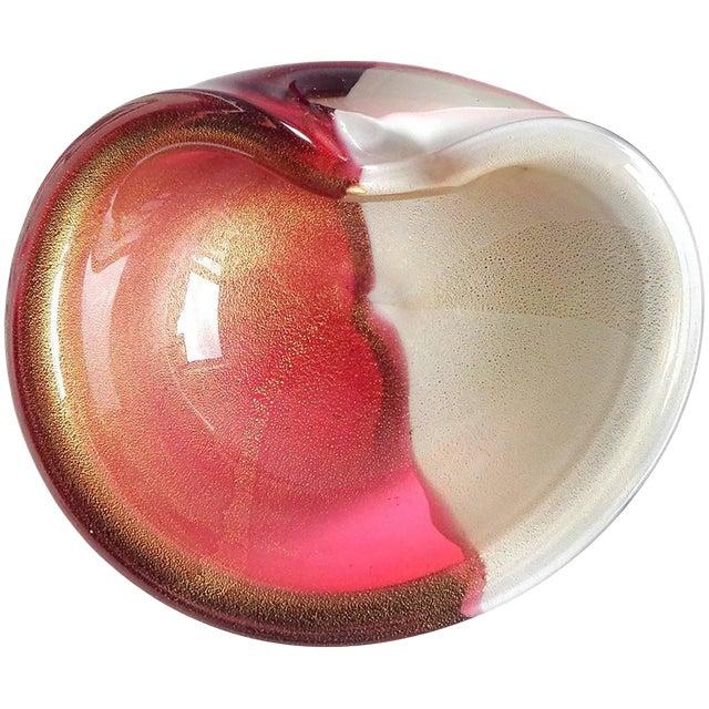 Alfredo Barbini Amethyst and Gold Flecks Italian Art Glass Decorative Bowl For Sale