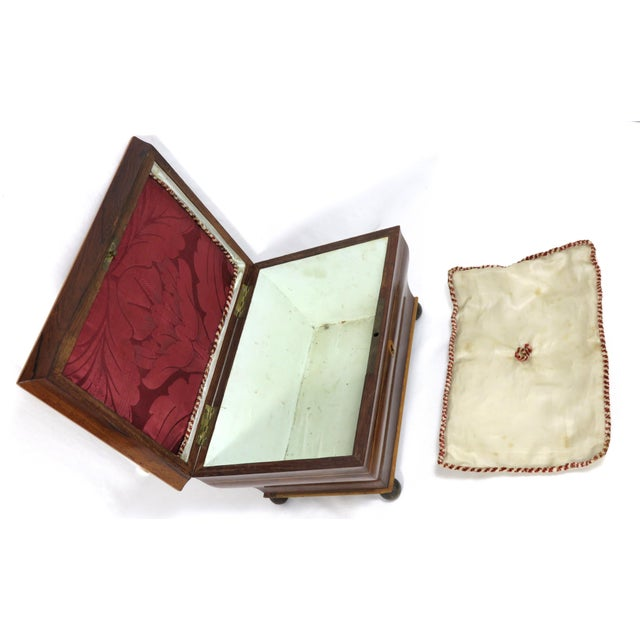 19th Century Victorian Rosewood Marquetry Sewing Box For Sale In Boston - Image 6 of 13