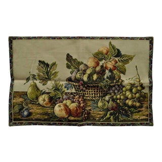 """42""""x 26"""" French Wall Hanging Tapestry Aubusson Fruit Still Life Beige Background"""