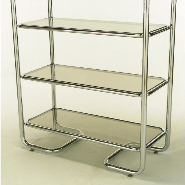 Tubular Chrome & Smoked Glass Five Shelf Etagere. - Image 9 of 10