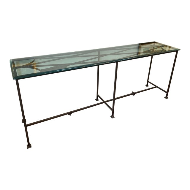 Iron and Glass Arrow Motif Console For Sale