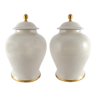 Monumental Italian Glazed Ceramic Jar by Paolo Marioni With Gold-Leaf Accents-A Pair For Sale