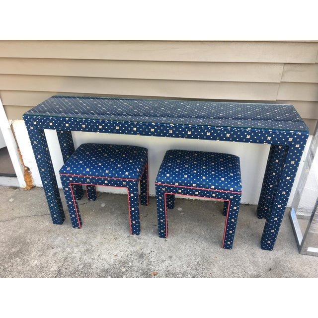 1970s Mediterranean Blue Upholstered Parsons Table With Matching Benches - 3 Pieces For Sale - Image 11 of 12