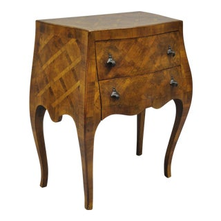 Italian Burl Olive Wood Parquetry Inlay Bombe Small Commode Nightstand / End Table For Sale