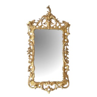 English George II Giltwood Mirror With Foliate Crest For Sale