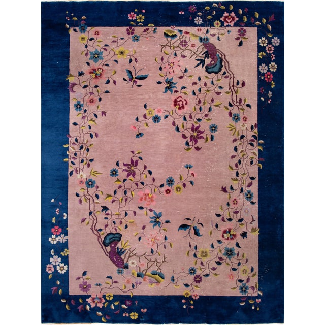 Antique Rose Chinese Art Deco Wool Rug 8 Ft 9 in X 11 Ft 8 In. For Sale - Image 12 of 12
